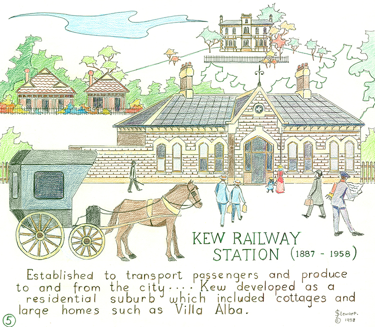 Joy Stewart (b. 1925), Kew Railway Station (1887-1958) (detail), 1988, Kew Historical Society. A pen and pencil embroidery template, part of the Kew Historical Society's collection assessed for national significance under a Community Heritage Grant.