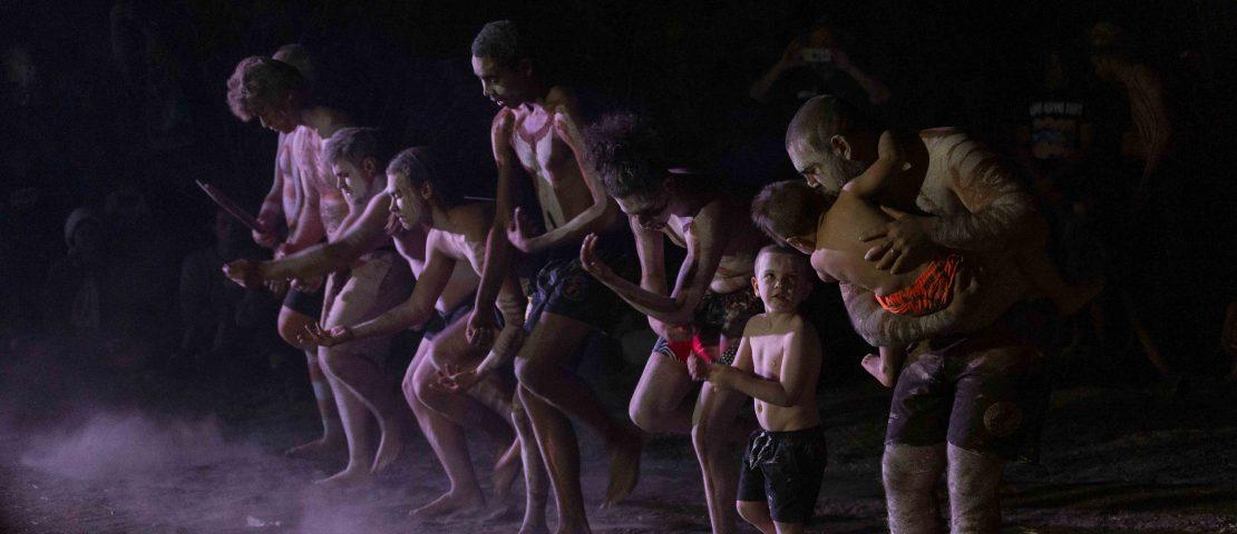 Members of the Peter Williams led and Katoomba based Garul Giyalu Rock Mob dancing in Walgett. Photo: Jessica Maurer