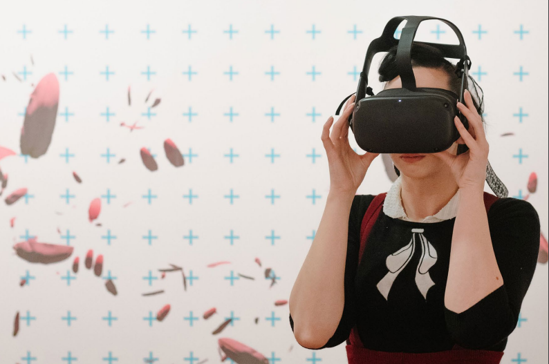 Virtually impossible. Visitor in VR at Northern Rivers Community Gallery. Photo by Ben Wyeth.