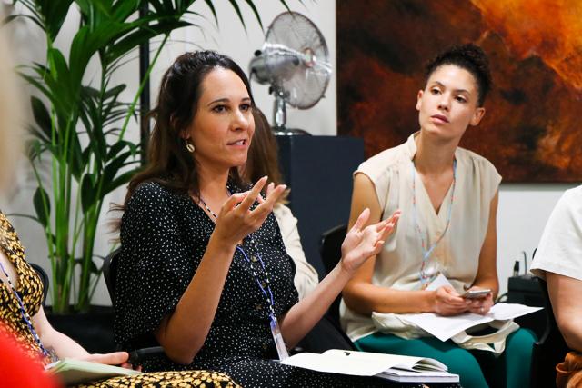 Educator Annie-Renae Winters speaks to Education Symposium attendees