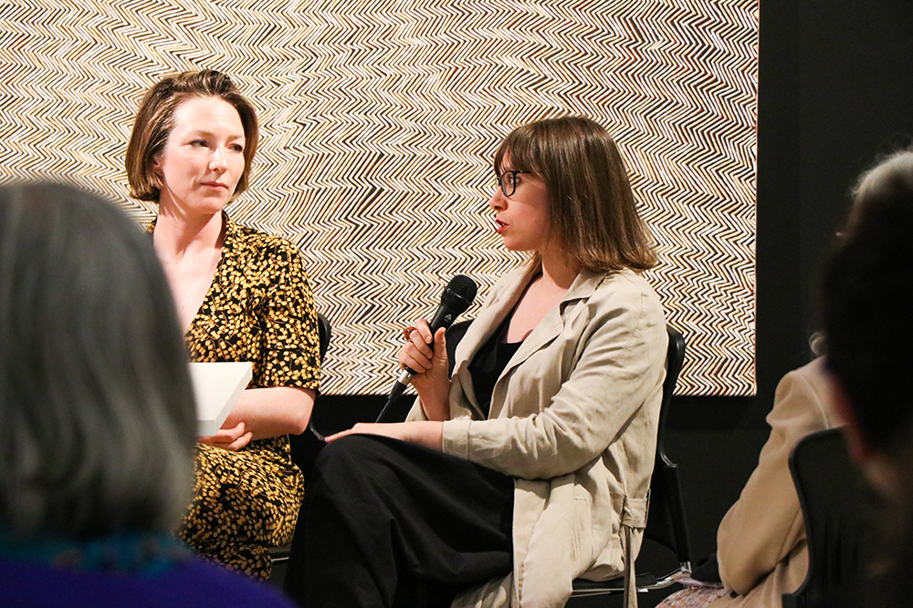 Rachel Arndt speaks at the panel talk