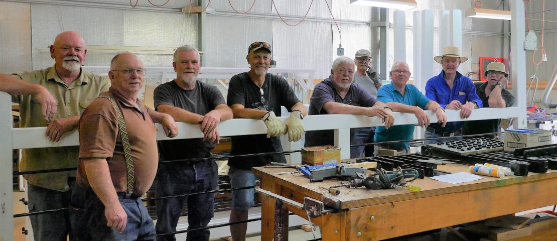 First gate rebuilt. Men's Shed and Historical Society volunteers, photo by Ron Frew