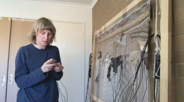 Pia van Gelder in her studio preparing Soft Synth no.1 for the Material Sound tour
