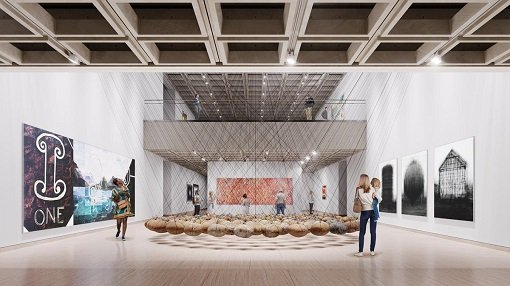 Image of the Art Gallery of New South Wales as produced by Mogamma for Tonkin Zulaikha Greer Architects © Mogamma. Featuring artworks left to right: Imants Tillers, Counting: one, two, three, 1988 © Imants Tillers; Ken Unsworth, Suspended stone circle II, 1974-77, 1988 © Ken Unsworth; Emily Kame Kngwarreye, Untitled (Alhalker), 1992 © Emily Kame Kngwarreye; Idris Khan, every… Bernd & Hilla Becher Prison Type Gasholder every… Bernd & Hilla Becher Spherical Type Gasholder every… Bernd & Hilla Becher Gable Sided House, 2004, printed 2005 © Idris Khan, courtesy Victoria Miro Gallery, London.
