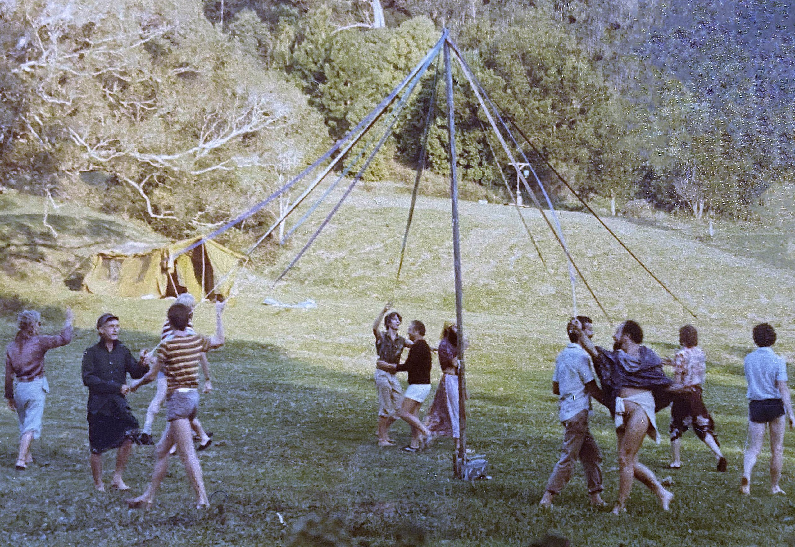 The maypole at Mandala, Australia's first same-sex commune. David Johnstone Collection, courtesy of Australian Lesbian and Gay Archive.