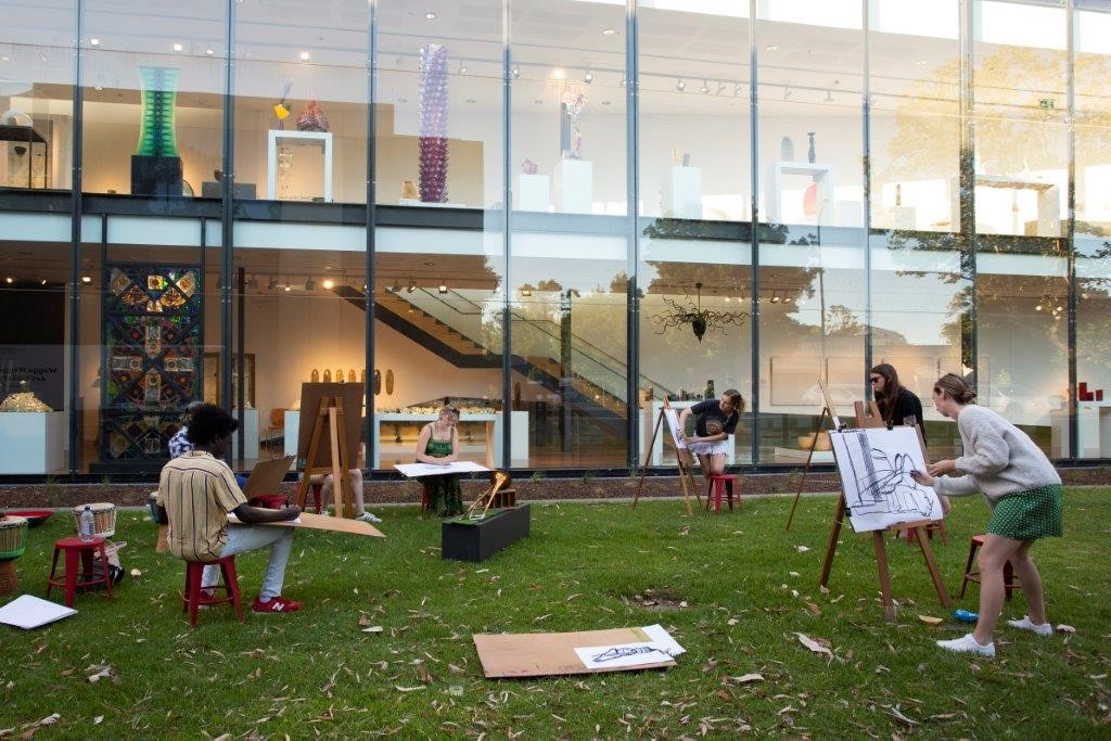 Image: 'Drums and Draw' public program, Wagga Wagga Art Gallery, December 2020 Photo: Tayla Martin