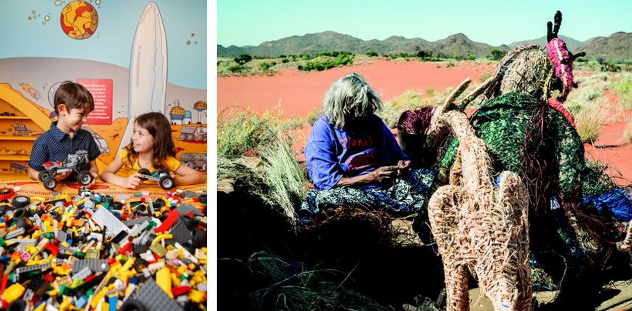 Left - On the Move, Photo by James Horan for Sydney Living Museums. Right - Tjankaya Tapaya, Ngayulu Minyma Tjanpinya, I am a Tjanpi Woman., 2017, in Obsessed: Compelled to make. Photo by Angus Lee Forbes.